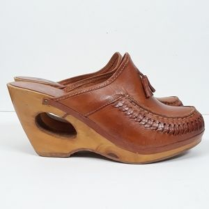 Vintage Shoes - Vintage 70's Marrantino Leather Tassel Mules
